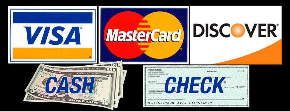 Credits Cards, Cash, Check Payments Accepted