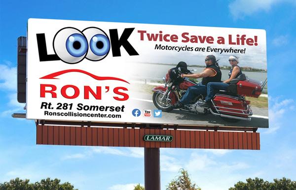 Ron's Lamar Billboard Campaign - Look Twice Save a Life